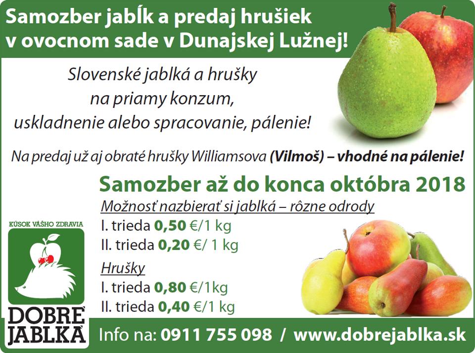 Samozber jablk a hrusiek Dunajska Lužná